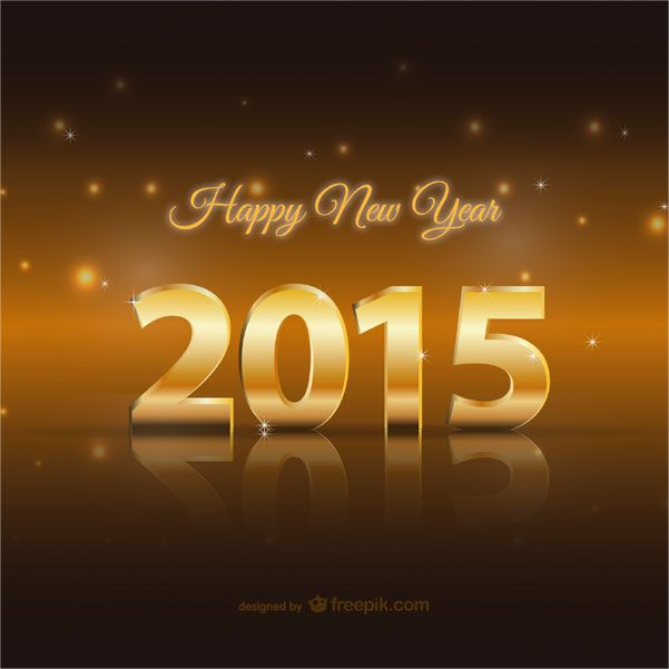 Happy New Year 2015 Golden Card Vector