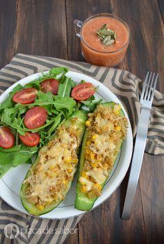 Calabacitas rellenas de quinoa y elote www.pizcadesabor.com