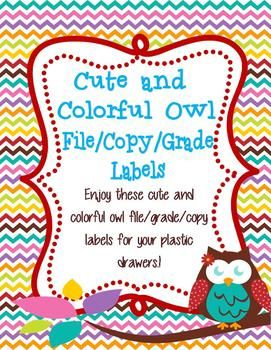 Enjoy these cute and colorful owl file/grade/copy labels for your plastic drawers.!If you love the design, check out the other cute and colorful owl products at my store Teaching with Peace.Copyright Annalisa Schweikhard. All rights reserved by Annalisa Schweikhard.
