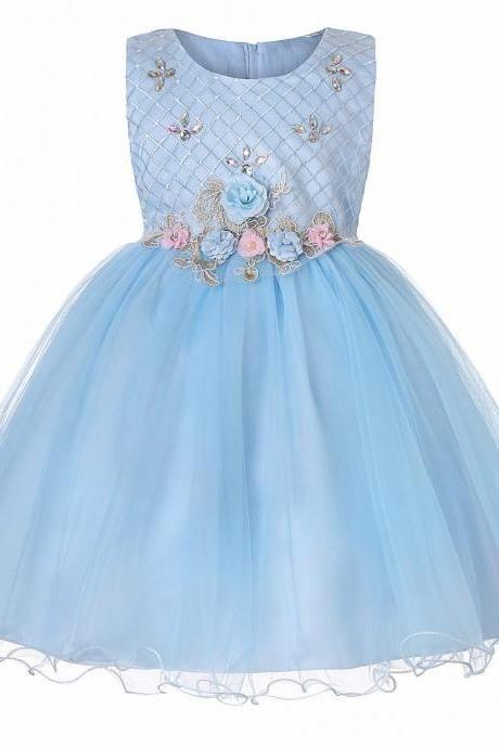 cfa723fac Princess Flower Girl Dress Sleeveless Knee Length Wedding Formal Birthday  Party Tutu Gown Children Clothes light blue