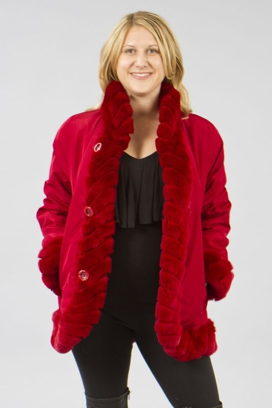 Red Down Coat With Fur Hood