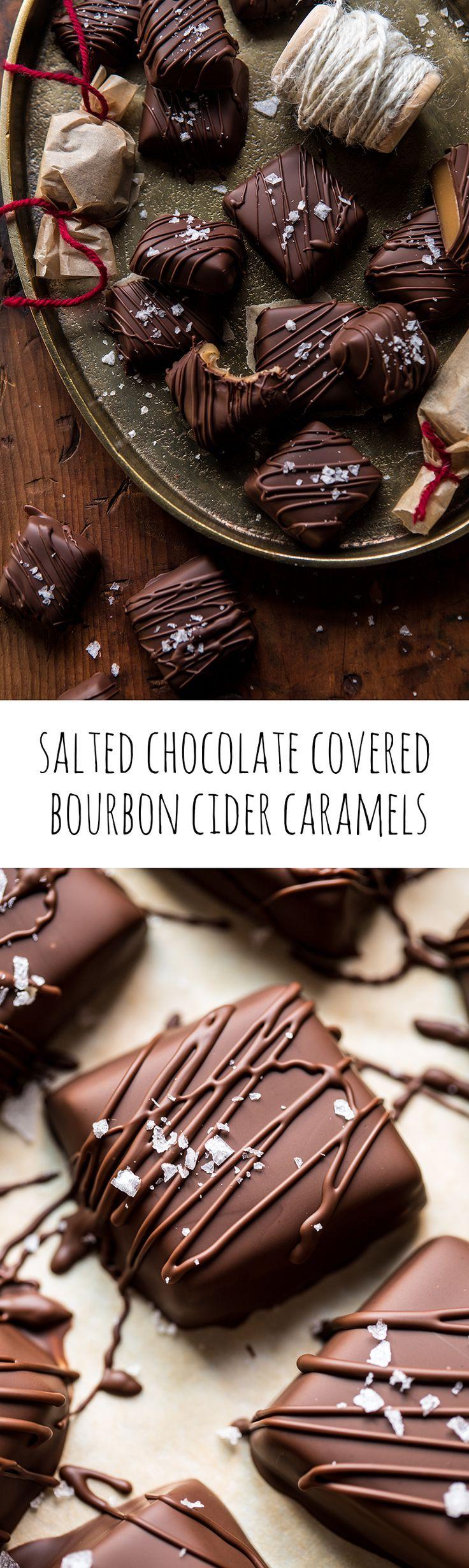 Salted Chocolate Covered Bourbon Cider Caramels | halfbakedharvest.com @hbharvest