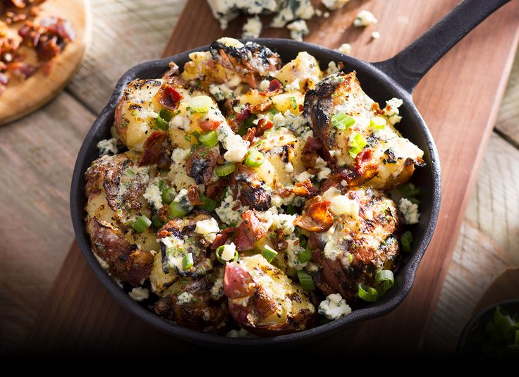 Serve this Longhorn Steakhouse-inspired side with any BBQ-inspired main meats  ~~Grilled Potato Salad --(can also easily be done in the oven or air-fryer).   ~~?? Could try holding mayo & mustard, add sugar for a more German/sweet & sour flavor ~~ (Do a taste test first!)  Blue cheese also possibly optional....
