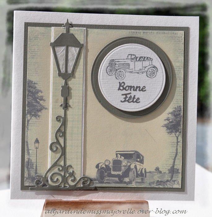 """Carte masculine de style vintage. La découpe lampadaire est un die """"Marianne Design""""."""