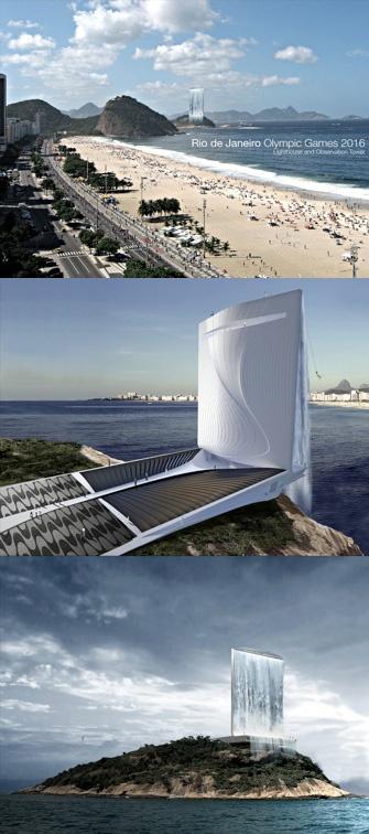 Solar Power Plant with Landmark Waterfall, Concept for the 2016 Rio Olympics, Rio De Janeiro, Brazil   RAFAA Architecture & Design, Zurich, Switzerland (2011)