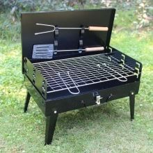 Folding Picnic Camping Charcoal BBQ Grill Adjustable Height Portable Garden barbecue Grill Broiler Outdoor Cooking Tool 17.13 * 10.83 * 18.5in