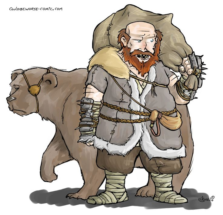 Woodsman, thug with pet bear. D&D Character. Made for a http://stage-rpg.com/ campaign.