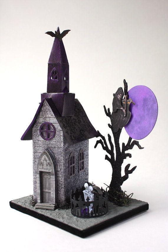Purple Moon Church Putz Style Glitter House by TwoKimsandThePoodle