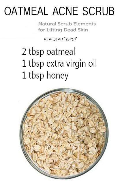 Oatmeal scrub and mask {Oatmeal will cleanse the skin of oil and exfoliate the pores to clear clogged pores, help heal acne and brighten the skin} # ...