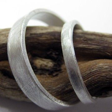 Eco-friendly recycled palladium sterling wedding rings with a matte finish by Valerie Kasinkas