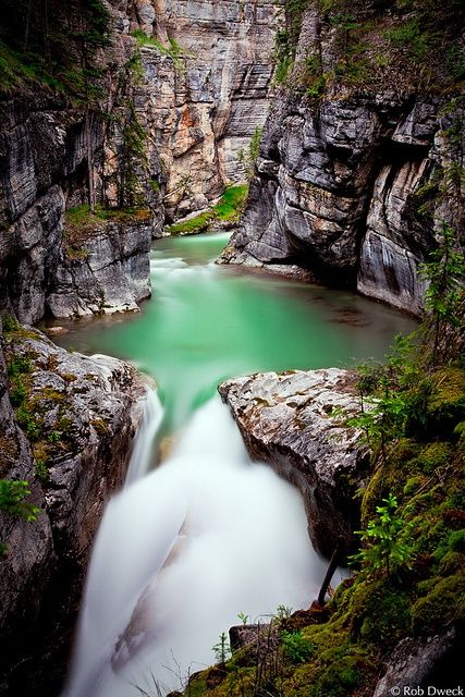 Athabasca Falls, Highway 93, Alberta - Pouring over a layer of hard quartzite, the falls have cut into the softer limestone beneath, carving intricate features, including potholes and a short canyon.