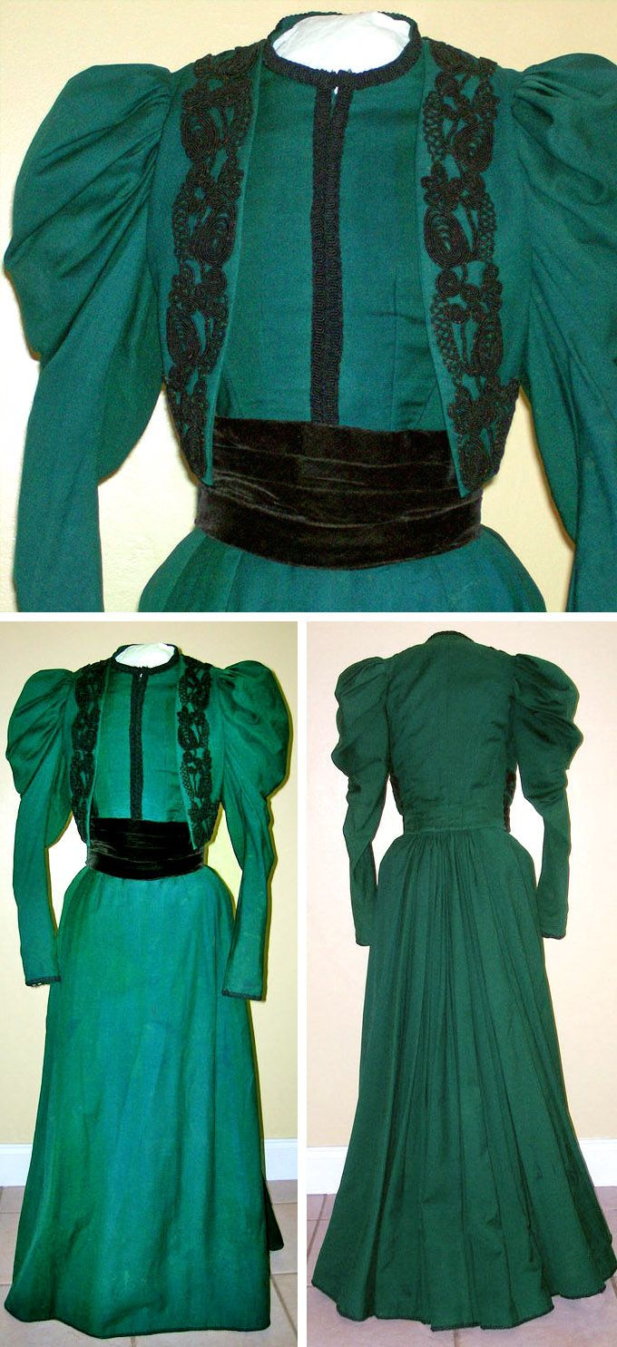 Walking suit ca. 1890s. Emerald green wool trimmed with soutache in foliate pattern. Pleated velvet cummerbund in front gives the impression of a jacket & waistcoat. Sadira's Vintage/ebay via Extant Gowns