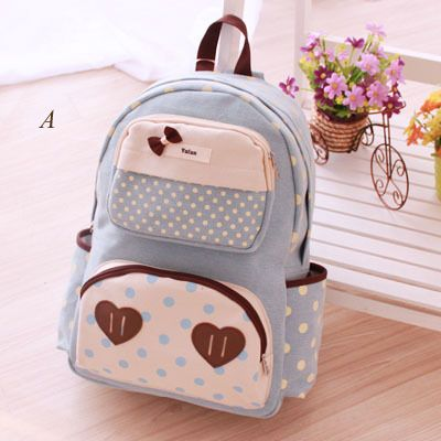 ◆Style: Backpack  ◆Material: Canvas  ◆Closed mode: zipper  ◆Internal structure: cell phone bags, document bags, pocket computer  ◆Pattern: dot ◆Strap style: double root  visiting store: http://www.storenvy.com/stores/188265-cute-kawaii find more amazing cute fashion things, some suit for y...