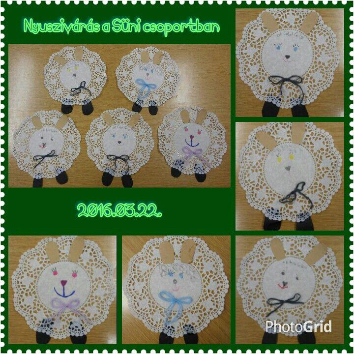 Húsvéti báránykák tortapapírból, rajzolással, ragasztással, masni kötéssel