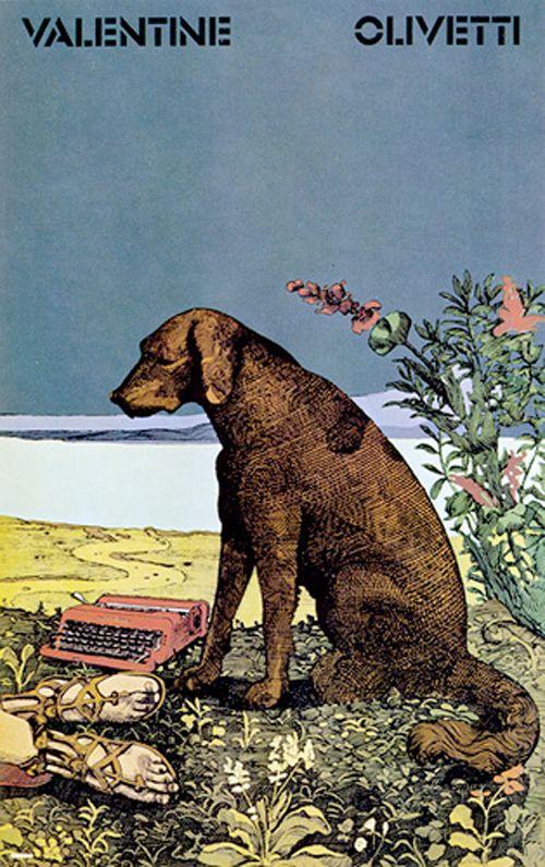 ad for olivetti valentine typewriter, 1969. ad design by milton glaser.