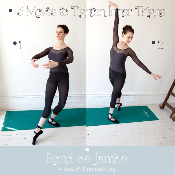 Ronde de Jambe  Start in first position. Keeping leg straight and turned out at the hip, point right toes out in front. Plié standing leg. Toes resting on the floor. Move front leg clockwise in a semicircle until directly behind. Straighten standing leg as you rotate to the back. Put all the weight on standing leg. Leg turned out, toe pointed, rotate it back counterclockwise until at first position. Plié standing leg as you move to the front. Do 4 sets of 8 on each leg.