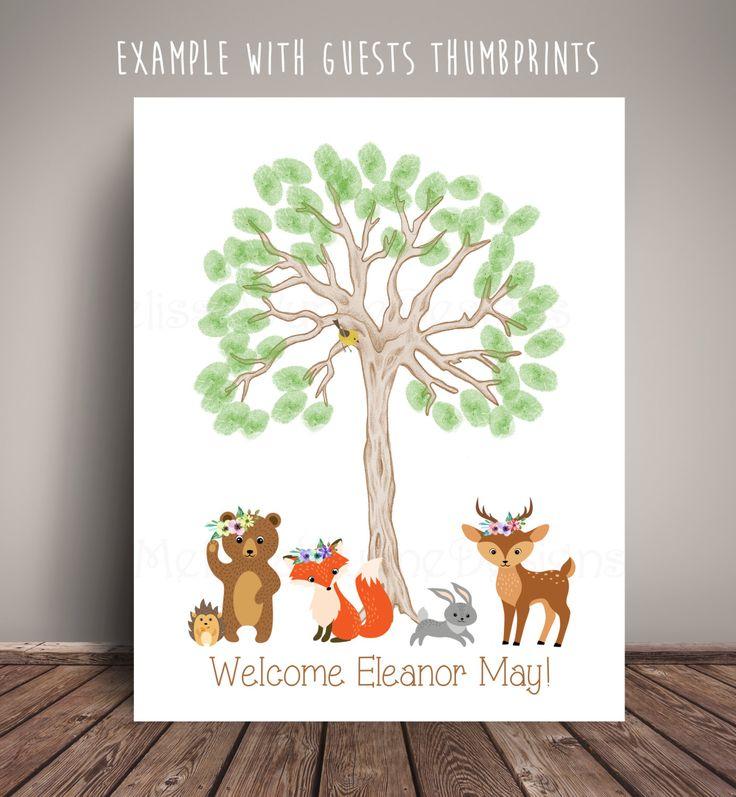 bridal shower keepsake book%0A Floral Woodland Bear  u     Friends Thumbprint Tree  Woodland Nursery   Thumbprint Tree  Woodland Baby Shower  Thumbprint TreeGuest Book