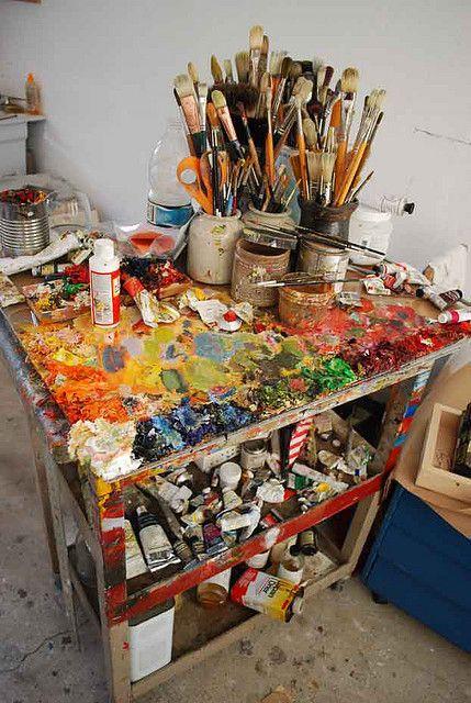 paintArt Spaces, Artists Studios, Painting Studios, Work Stations, Art Studios, Creative Spaces, Painting Brushes, Art Room, Art Stations