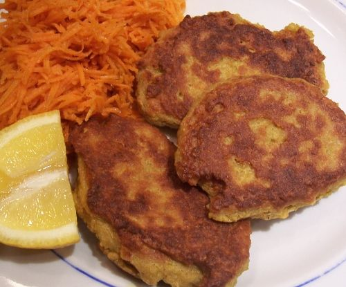Spicy Chickpea Fritters - Tinned chickpeas and spices make a great cheap and filling meal.