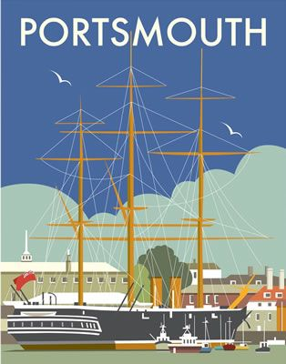HMS Warrior, Portsmouth. By Illustrator Dave Thompson wholesale fine art print