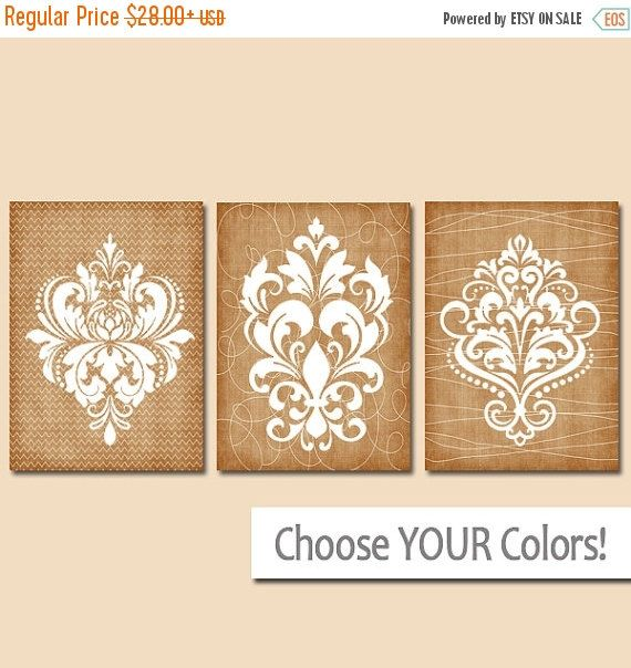 DAMASK Bedroom Pictures CANVAS or Prints Beige by TRMdesign