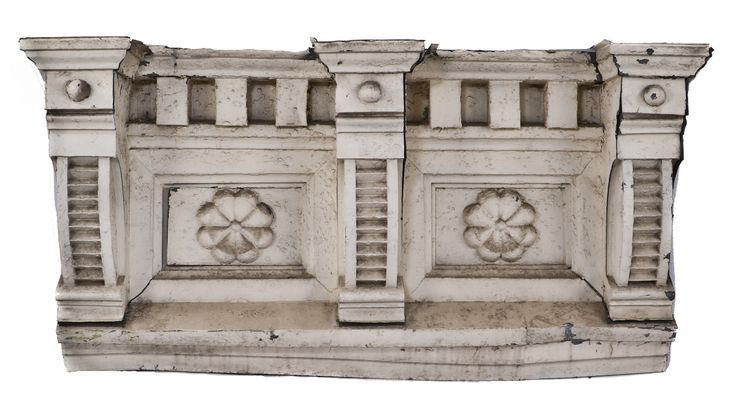 resized c. 1880's victorian era white painted exterior galvanized sheet iron cornice section with rosettes set within recessed panels - Products