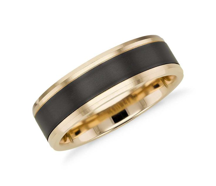 Satin Finish Wedding Ring in Black Titanium and 14k Yellow Gold (7mm)
