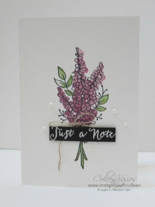 Lots of Lavender notecard. Creative Inking Blog hop Join Us Linda Bauwin Your CARD-iologist Helping you create cards from the heart..