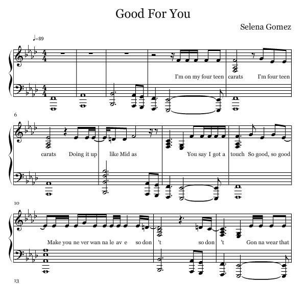 Free Piano Sheet Music New Age: Selena Gomez — Good For You Free Piano Sheets