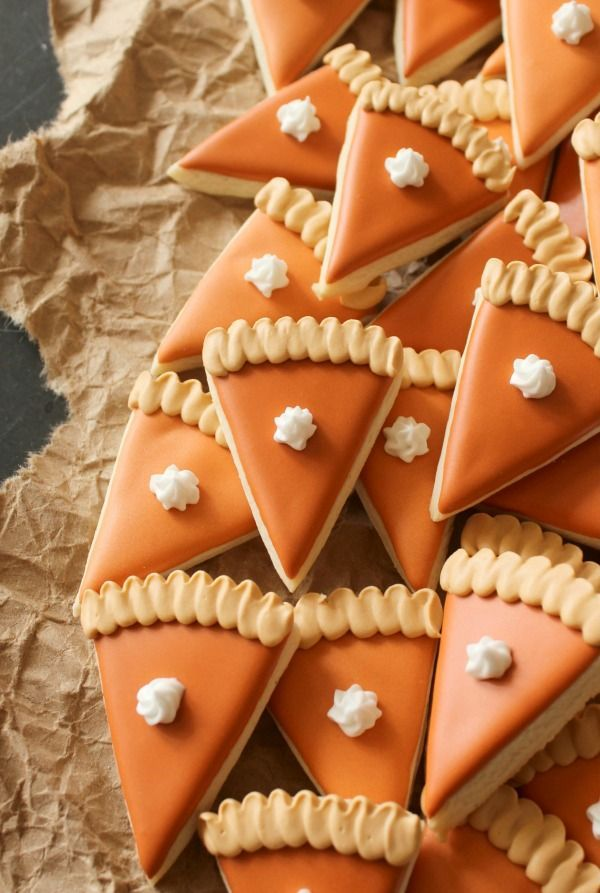 Adorable mini (they are only about 2 inches long) pumpkin pie slice cookies. Perfect all fall long but especially around Thanksgiving.