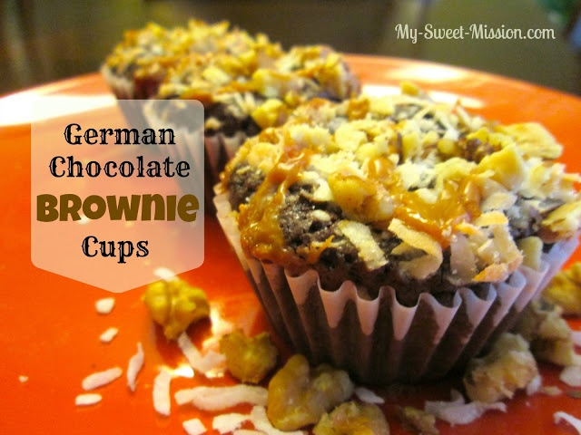 I'll show you how to make extraordinary German Chocolate Brownie Cups using a Ghirardelli Brownie mix and some delicious ingredients! Get the recipe today at My Sweet Mission!  http://myrecipemagic.com/recipe/recipedetail/german-chocolate-brownie-cups