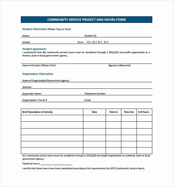 Volunteer Hour Forms Template Beautiful Sample Service Hour Form 13 Download Free Documents In Community Service Hours Volunteer Hours Templates