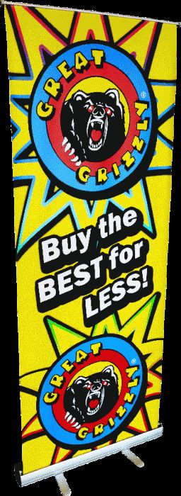 Stand Up GG Retractable Sign - North Central Industries - www.greatgrizzly.com - MUNCIE INDIANA WHOLESALE FIREWORKS •Category: Promotional Accessories •Item Number: 1400 •Package Contents: 1 •Weight: 25lbs Brand Name: Great Grizzly DESCRIPTION: This stand up sign will look great in your showroom!
