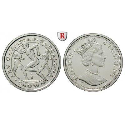 Gibraltar, Elisabeth II., 1/5 Crown 1991, 6,19 g fein, PP: Elisabeth II. seit 1952. Platin-1/5 Crown 6,19 g fein, 1991. Friedb. 36a;… #coins