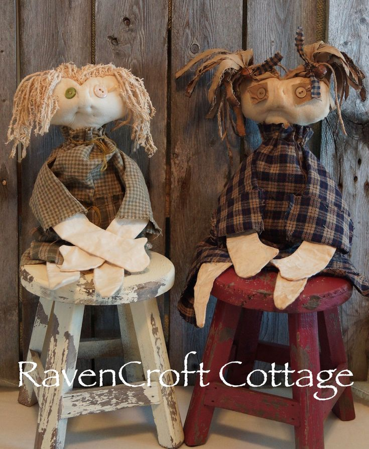 Even tho they're sitting for their portrait, these are prototypes for wall hangers. Primitive, grungy, folk art dolls. Hair made from cotton rags & yarns. Bodies made from muslin, with poly-fiber fill.Homespun & flannel clothes. Both coffee & tea staining used.