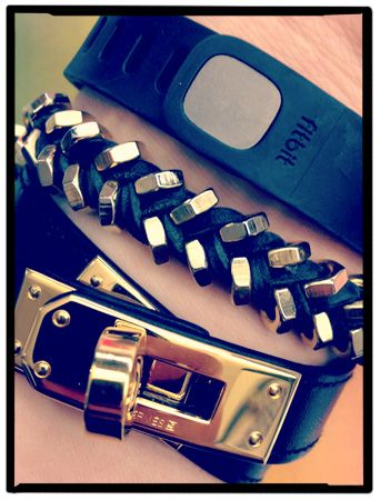 Alyssa Kolsky Hertzig - Fitbit Flex, leather bracelets from Hermes and Giles & Brother.