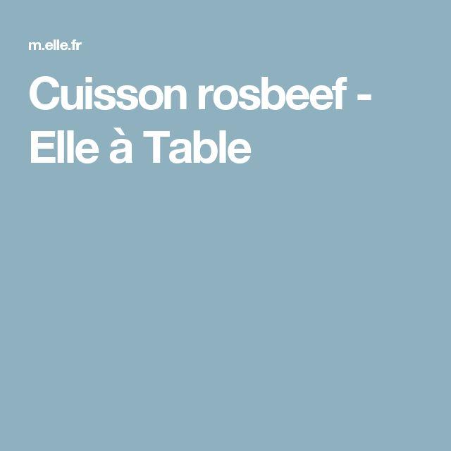 Cuisson rosbeef - Elle à Table