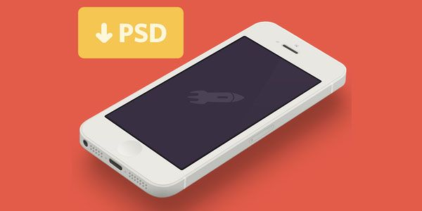 Angled White iPhone 5 Free PSD