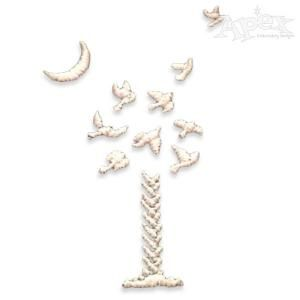 "Palm Tree 9 Doves South Carolina Embroidery Design. Designed for The Nine South Carolina Victims. Size: 3"" x 2"""