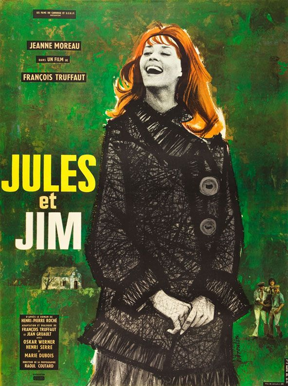 1962 French grande for Jules et Jim (François Truffaut, France, 1962);  designer: Christian Broutin (b. 1933).