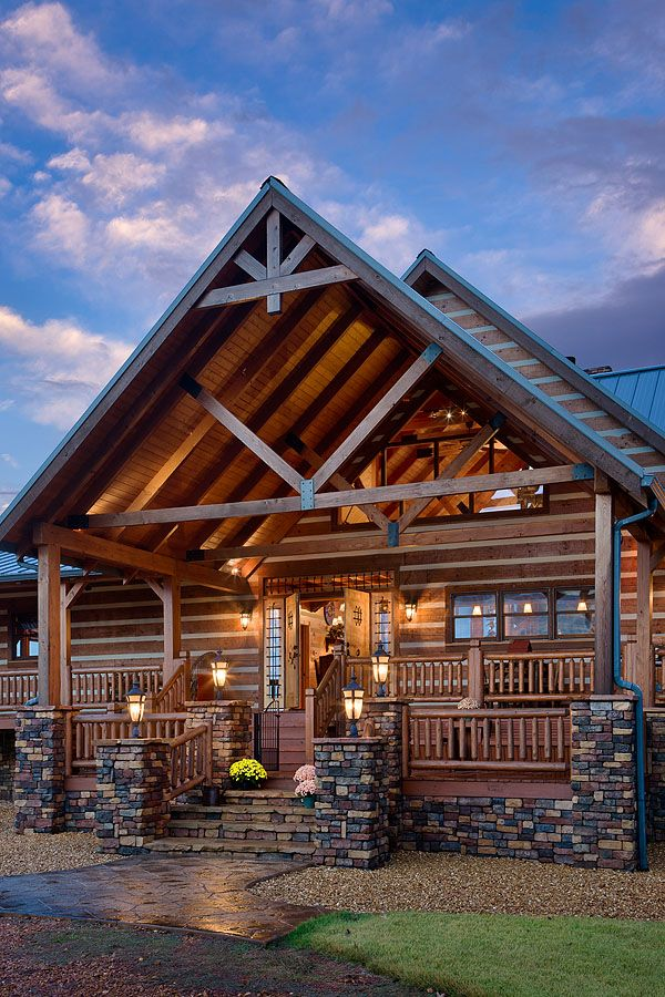 Log homes landscaping front entrance pictures exterior for Log cabin builders in california
