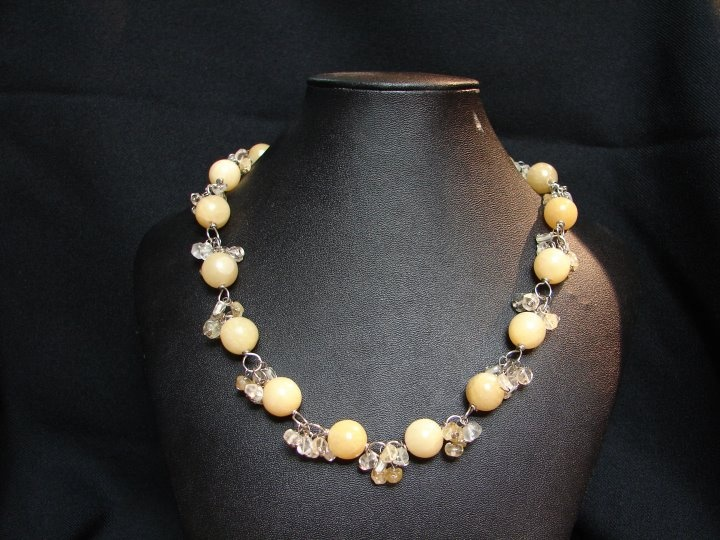 Aragon Bead Necklace with Citrine bead accents.