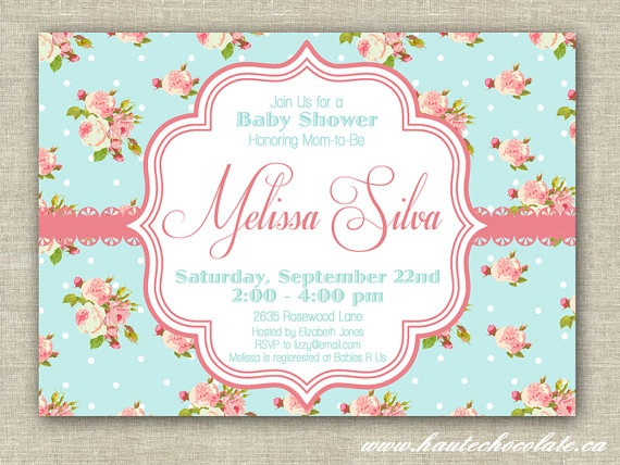 Shabby Chic Baby Shower Invitation DIY By HauteChocolateFavors, $10.00