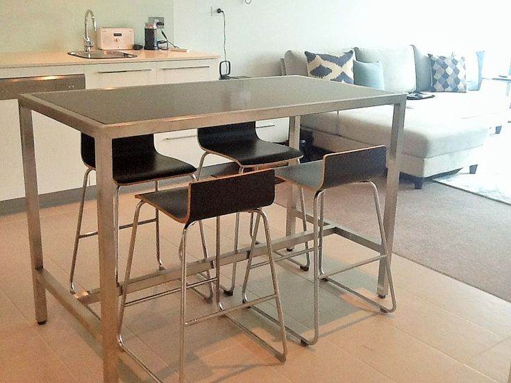 Indoor Dining For Apartment At Bench Height To Increase Kitchen Space When Needed Stainless