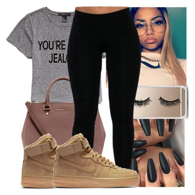 """"""""""" by kodakdej ❤ liked on Polyvore featuring Forever 21, MICHAEL Michael Kors, Casetify and NIKE"""