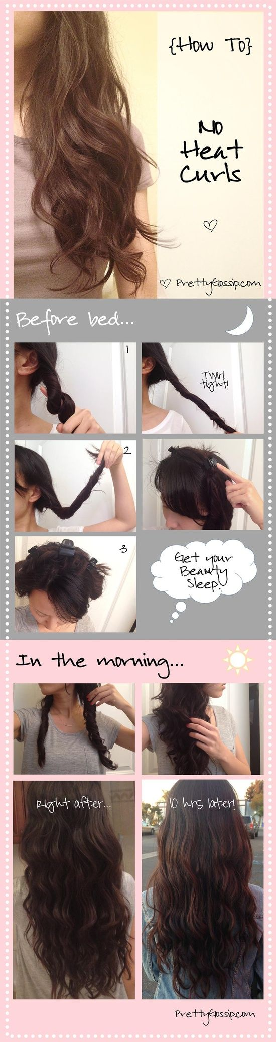 Easy no heat beachy waves. Crazy curly frizzy head problem solvers. I'm totally trying this tonight. Need some hair clips though!