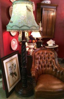 """Extraordinary Carved Mahogany Floor Lamp  Beautiful shade with floral and bird motif with fringe.  70"""" High   $1700  Dealer #8804  Lucas Str..."""