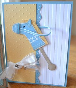 "Stitched hobby horse - Colors - Marina Mist, So Saffron, Whisper White.  Big Shot - Stripes Textured Impressions EF, Perfect Polka Dots EF. Stamps - Stitched Stockings, Tiny Tags. Other - Jewelery Tag Punch, Trinkets, Whisper White 5/8"" Organza Ribbon"