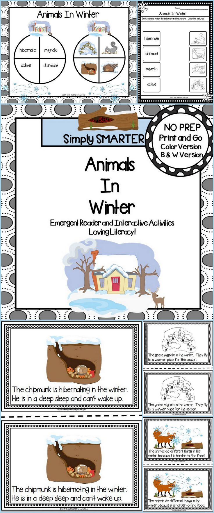 Are you looking for a LOW PREP reading activity for preschool, kindergarten, or first grade? Then use these ANIMALS IN WINTER activities for guided reading, shared reading, independent reading, science, or homework. Children can choose a colored version or black and white version of a 7 page reader. The reader contains two sentences on each page and informs children about the animals in winter. Children will reinforce what they read by completing the response page and by playing the board…