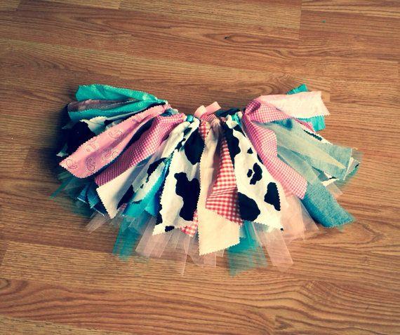 Barnyard birthday, Cowgirl costume - cowgirl tutu - Cowgirl birthday Tutu, Double layer, shabby chic fabric tutu skirt - Choose your size
